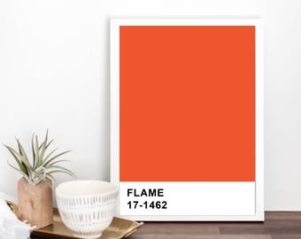 Attractive Flame Pantone Color Print // Minimalist // Wall // Typography // Fashion //  Scandinavian // Boho // Office // Gift // Home // Dorm