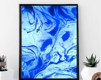 Blue Marble Print // Minimalist // Wall Art // Office DIY // Scandinavian // Modern Office // Fashion Poster // Abstract // Modern