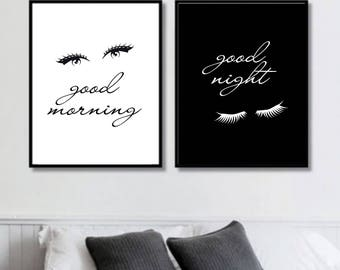 Good Morning, Good Night Eyes Prints // Her Poster // Bedroom // Minimalist Poster // Fashion Poster // Wall Decor For Couple // Bedroom Art