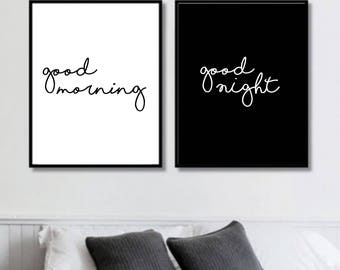 Good Morning, Good Night Simple Prints // Her Poster // Bedroom // Minimalist Poster // Fashion // Wall Decor For Couple // Bedroom Art