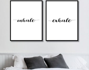 Inhale + Exhale Prints // Her Poster // Bedroom Decor // Minimalist Poster // Fashion Poster // Wall Decor For Couple // Bedroom Art