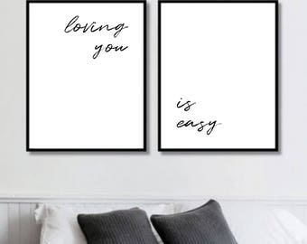 Loving You ... Is Easy Prints // Her Poster // Bedroom Decor // Minimalist Poster // Wall Decor For Couple // Bedroom Art