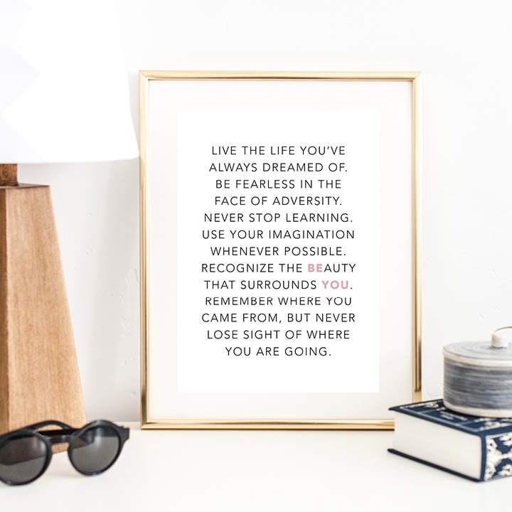 Live The Life Youve Always Dreamed Of Print Wall Art Typography