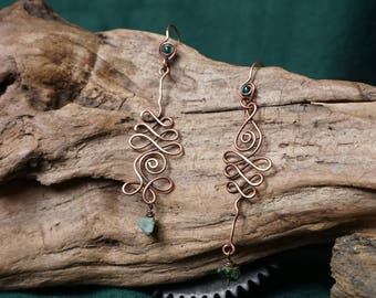 Earrings shaped Unalomes, copper with African Turquoise.