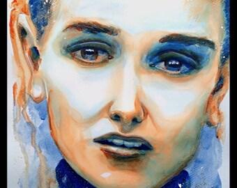 SINEAD O'CONNOR Custom Watercolour Portrait