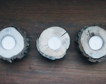 Walnut tea light pillars