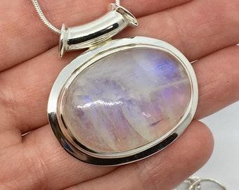 Rainbow Moonstone Silver Crystal Gemstone Pendant HUGE Stone