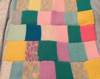 Pet blanket hand knit patchwork design