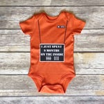 Jailbird bodysuit, serving time bodysuit, jail bodysuit, funny baby outfit, 9 Months served, baby shower gift, funny baby outfit