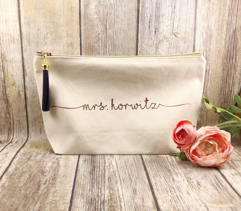 Large personalized natural canvas makeup bag bridesmaid gift image 0