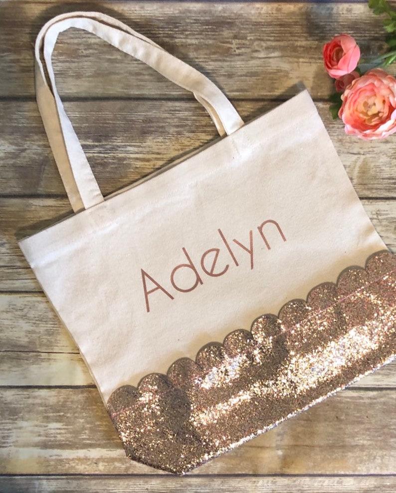 f39dbbc7a Glitter scalloped personalized tote bag gold glitter tote | Etsy