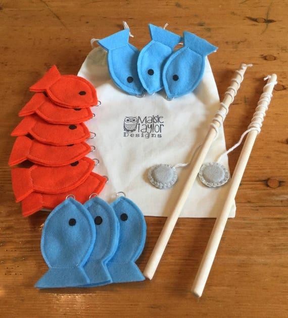 Peuter educatief speelgoed, vilt magnetische visserij spel, vissen kinderen spel, handgemaakte speelgoed, Montessori games, Waldorf speelgoed, blauwe