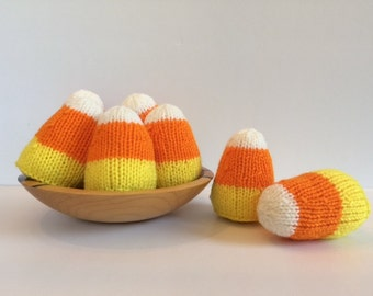 Knit Candy Corn, Fall Decor, Handmade Gift, Fall Gifts, Hostess Gifts