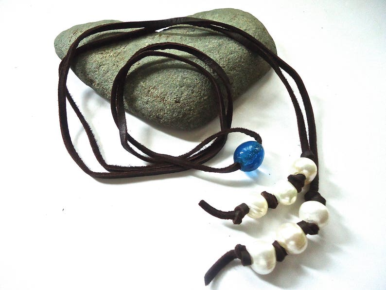 Leather Wrap Bracelet Beach Necklace Casual Bohemian Rustic Hippie Pearl and Bead Jewelry Boho Wrap Necklace Leather and Pearl Necklace