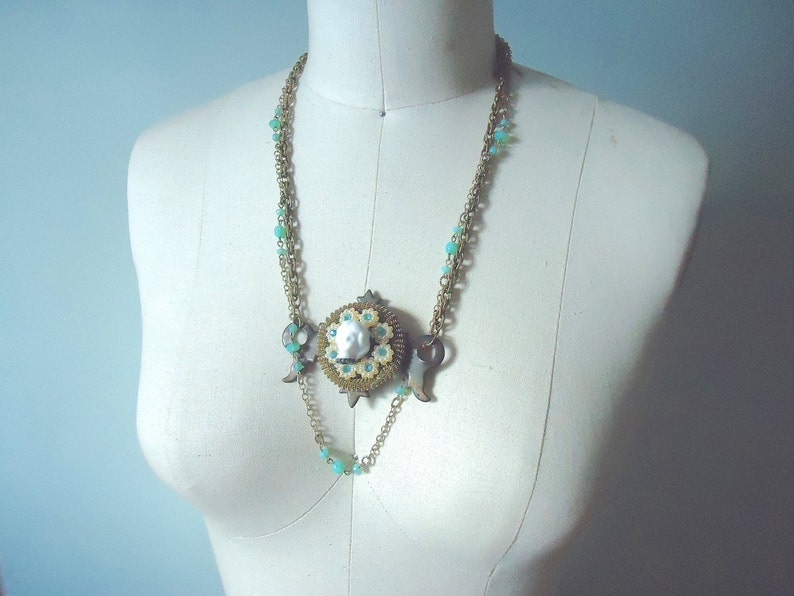 Frozen Charlotte Arty Necklace Found Objects Assemblage Necklace Upcycled Jewelry Steampunk Victorian Ornate Unusual Statement Necklace