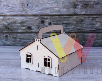 box house laser cut storage box kids dream box