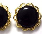 Gorgeous Vintage Signed Crown Trifari Massive Black Glass Flower Earrings