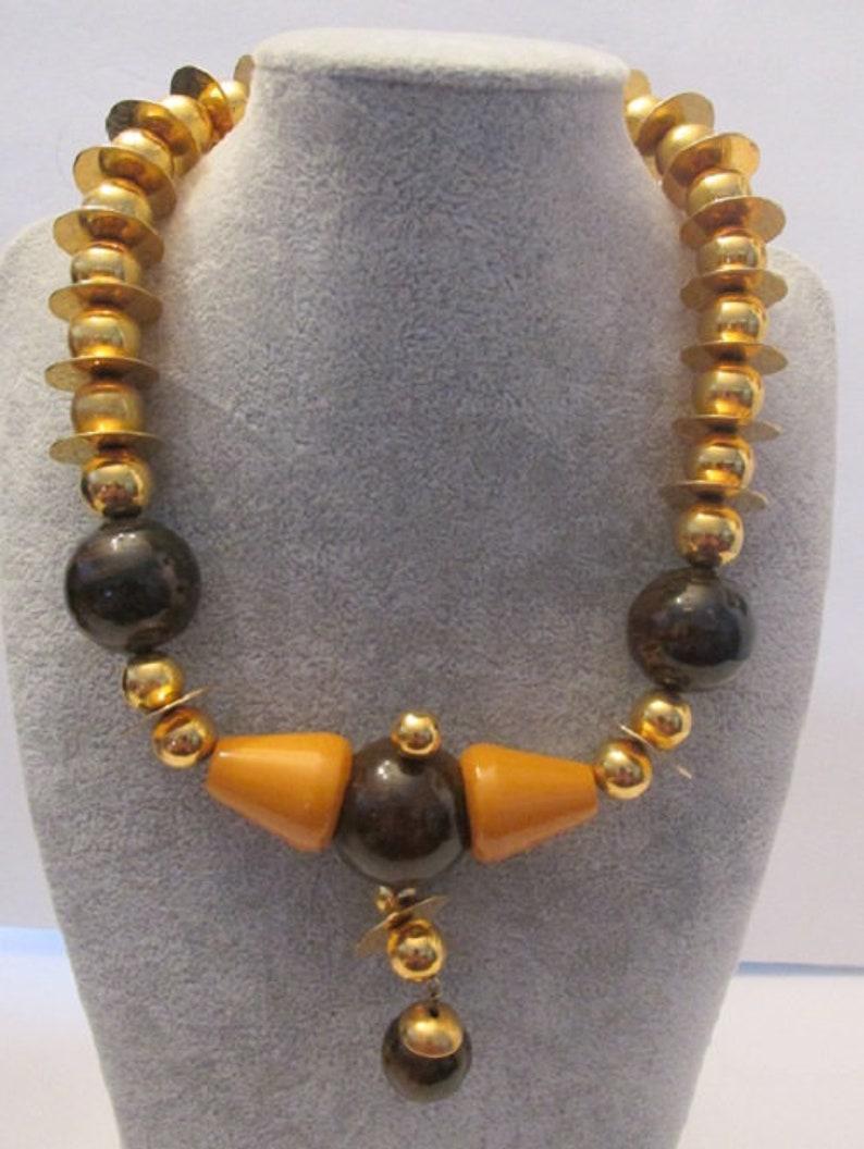 Stunning Vintage Chunky Boho Bakelite Big Beaded Necklace