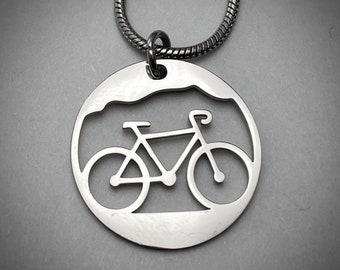 GiftJewelryShop Sports Cyclocross Biking Sunset Retro Style Cross Pendant Charm Necklaces