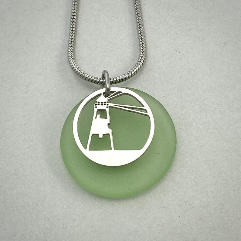 Lighthouse Beach Glass Pendant