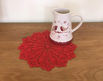 Red Sparkling Christmas Crochet Doily