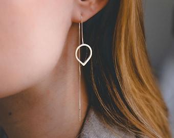 Sterling Silver Chain Earrings, Leaf Earrings Dangle, Leaf Chain Earrings, Dangle Chain Earrings, Threader Earrings, Drop Chain Earrings