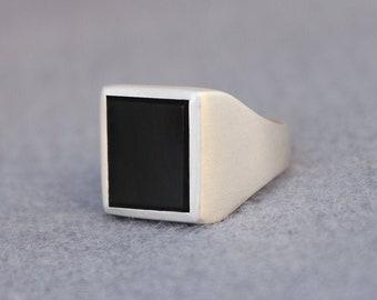 Sterling Silver Onyx Ring, Onyx Ring Men, Mens Black Onyx Ring, Men's Square Minimalist Ring, Rectangle Modern Ring, Signet Gemstone Ring