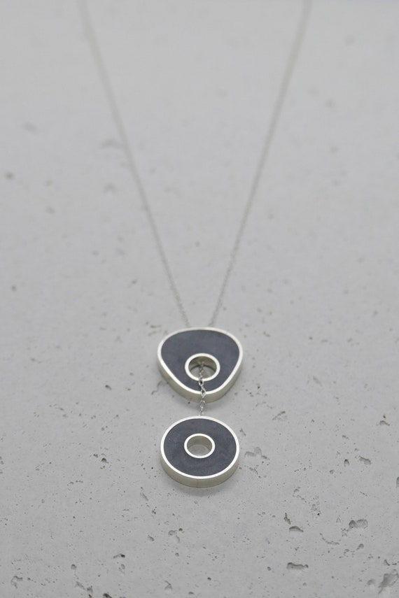 Pull Through Necklace Lariat Silver Necklace Looped Necklace Silver Resin Necklace Grey Concrete Necklace Concrete Silver Pendant
