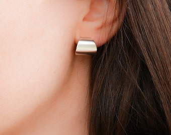 Flat Hoop Earrings, Minimalist Hoop Earrings, Wide Hoop Earrings, Silver Statement Studs, Modern Stud Earrings, Brushed Earring, Thick Hoops