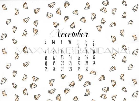 November Pie Computer Wallpaper Desktop Backround Autumn Fall Pumpkin Pie Calendar