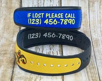 Custom Magic Band Decal Phone Number/ID Bracelet Decal/ Magic Band 2.0 Decal/ Glossy or Glitter Magic Band Decal