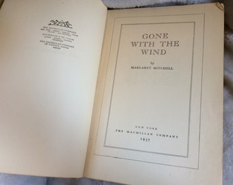 Gone With the Wind May 1937 Printing // Civil War Literature