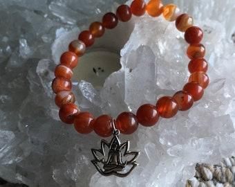 Orange Jade Lotus Bracelet