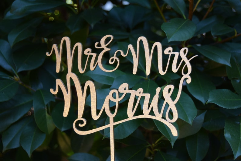 Personalized MR&MRS Wedding Cake Topper Wedding Cake Decor image 0