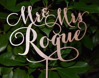 Rose Gold wedding Wedding Cake Topper, Wedding Cake Decor, Rose Gold Cake - Wedding Gift, Valentine Day Cake Topper