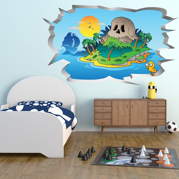 Pirates Wall Hole Print: Children\'s Bedroom Wall Sticker / Home Decor /  Graphic Decal