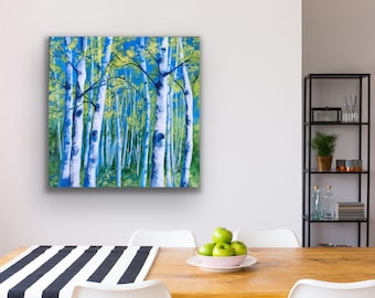 Contemporary abstract acrylic birch tree painting modern art on canvas