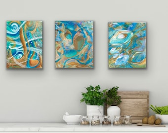"""Acrylic abstract painting wrapped stretched canvas 8x10x2 """""""
