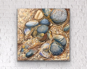 Acrylic original painting beige gold brown