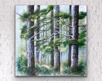 Modern painting acrylic on canvas winter scene 25 x 25