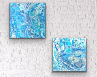 2 Abstract acrylic painting on canvas swirls of blue and aqua flow across this canvas