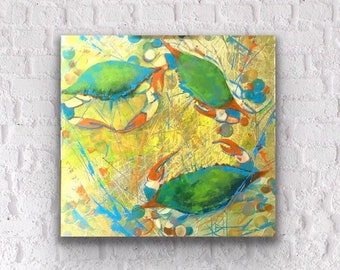 Modern acrylic painting on wrapped canvas ready to hang