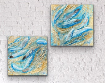 Beach art acrylic painting on wrapped canvas blues , beige , white