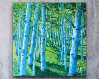 Contemporary acrylic birch tree painting modern art on canvas