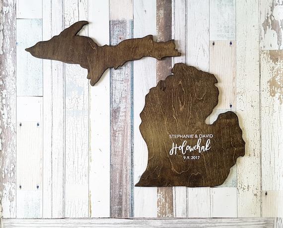 Wedding Guest Book Alternative Kelley Island Ohio State Guest Book Wood State Cutout Wood Guest Book Custom State Sign State Sign