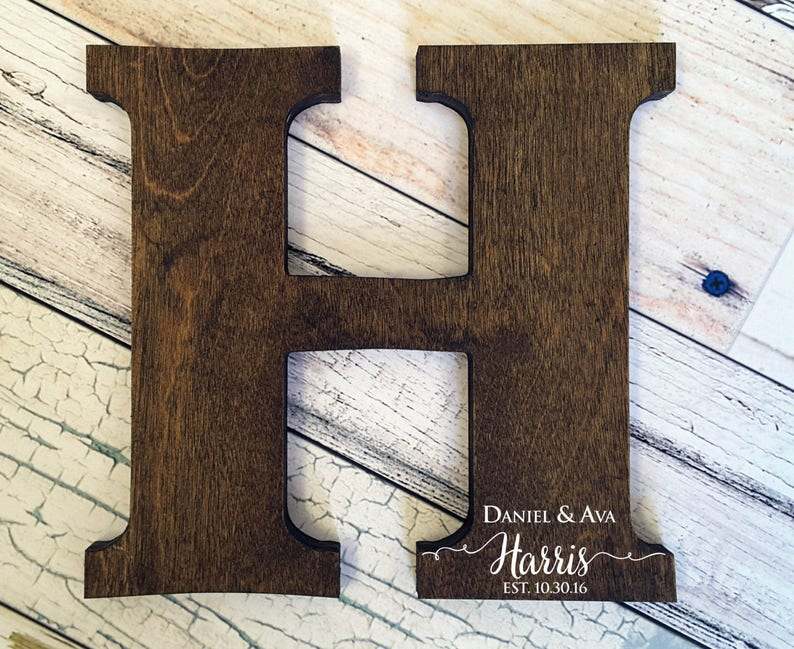 Letter Guest Book Distressed Letter Sign Wood Letters image 0