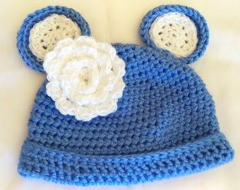 TEDDY hat, darling teddy bear hat in soft blue for boys and girls