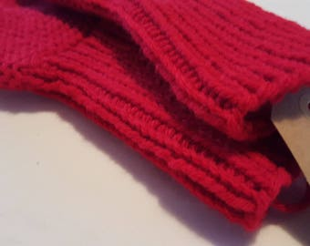 Red hand knitted socks