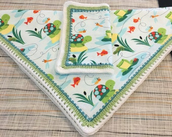 Baby Receiving Blanket - Whimsical pond creatures in Blue, Green, White, Turquoise, Lime Green, Orange, crocheted edging, all babies