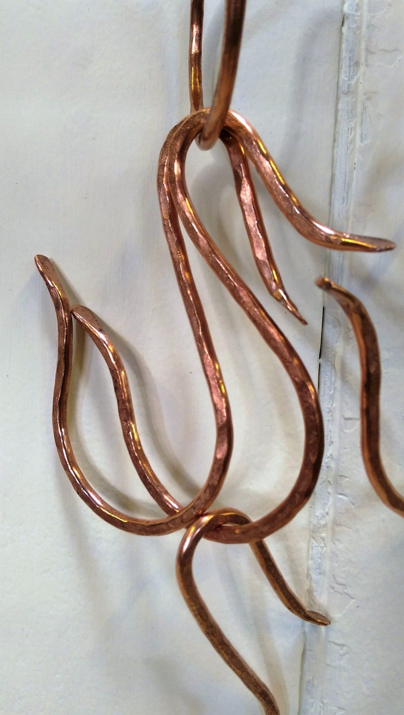 Hand wrought copper hooks - keep your utensils, pots and pans tidy!